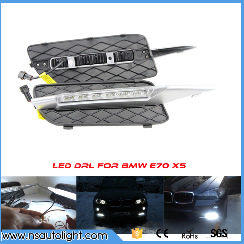 Car DRL Kit for BMW X5 E70 2007 2008 2009 LED Daytime Running Light Bar auto fog lamp daylight light 12v external front light