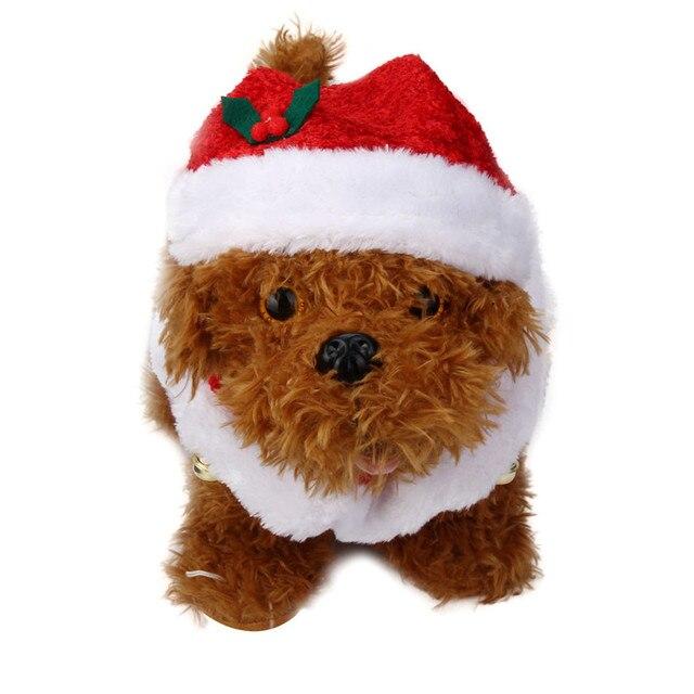 Zero 2Pcs Set Pet Dog Cat Xmas Santa Hat And Collar With Bells Christmas