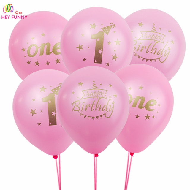 100pcs Happy First Birthday Decoration Mixed Latex Balloons 1st Party Decorations Kids I AM ONE Year Blue Pink