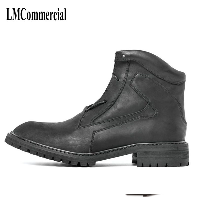 men British thick boots, retro Martin shoes, trend men's short boots, autumn and winter Korean men's boots, leather frock shoes martin boots men s high boots korean shoes autumn winter british retro men shoes front zipper leather shoes breathable