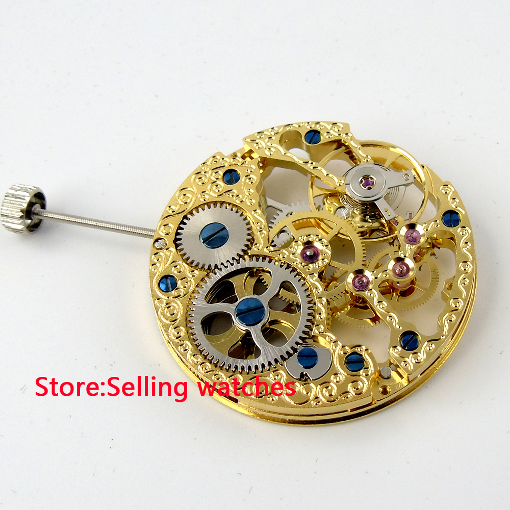 Full Skeleton gold plated Hand Winding mechanical 6497 movementFull Skeleton gold plated Hand Winding mechanical 6497 movement
