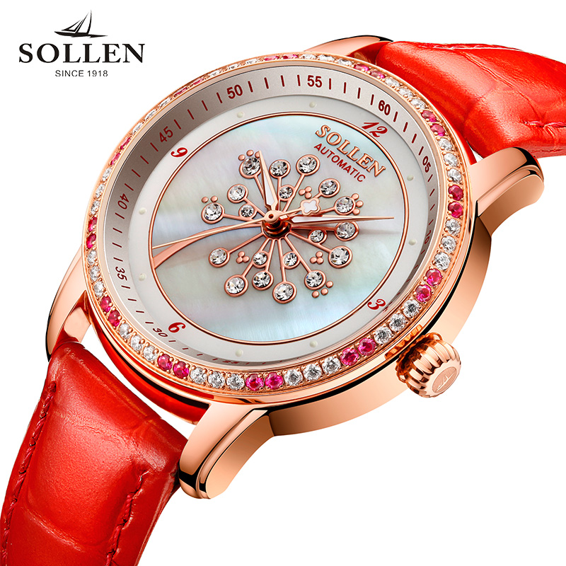 luxury brand watches women automatic mechanical Romantic dandelion shell pearl diamond sapphire Italian calfskin wristwatchluxury brand watches women automatic mechanical Romantic dandelion shell pearl diamond sapphire Italian calfskin wristwatch