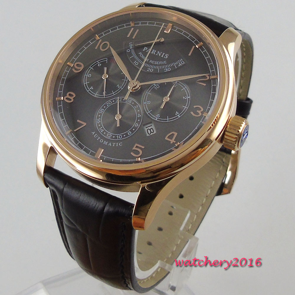 42mm parnis Black Dial Rose Golden Case top brand luxury automatic mechanical power reserve date window Mens Automatic Watch цена и фото