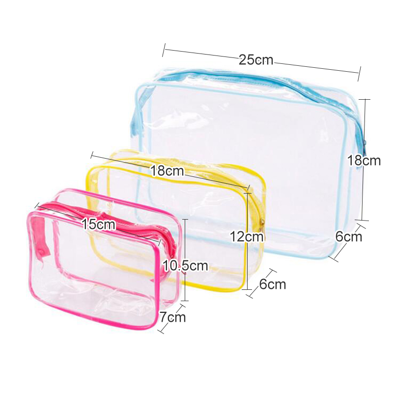 3pcs/pack PVC Transparent Make Up Bag Waterproof Organizer Toiletry Storage Wash Pouch Travel Cosmetic Bag Adults Zip Bath Tote
