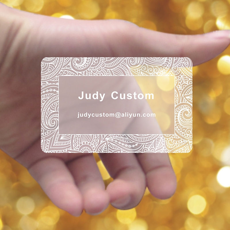 200pcs one design custom white ink transparent business card 85 5 54mm name card with white
