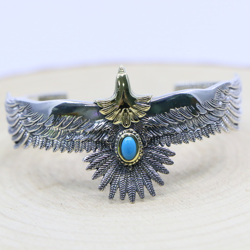 Punk Style Takahashi Goro Handmade S925 Sterling Silver Eagle Blue Turquoise Retro Thai Silver Men And Women Open Ended Bangle
