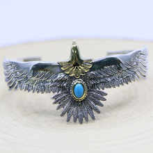 Punk Style Takahashi Goro Handmade S925 Sterling Silver Eagle Blue Turquoise Retro Thai Silver Men And Women Open Ended Bangle - DISCOUNT ITEM  0% OFF All Category