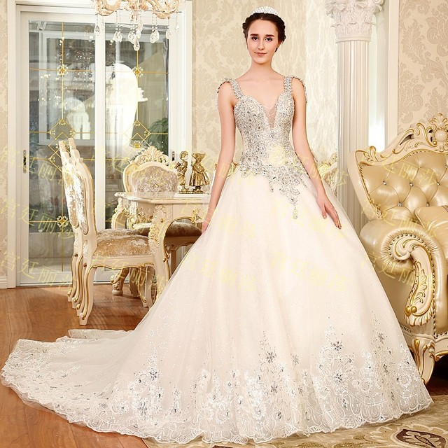 2015 Luxurious crystal pearl Wedding dress sequin lace up Wedding ...