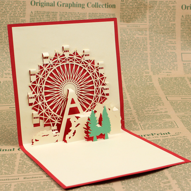 10pcs ferris wheel greeting cards 3d square birthday card design 10pcs ferris wheel greeting cards 3d square birthday card design paper art card paper 3d pop m4hsunfo