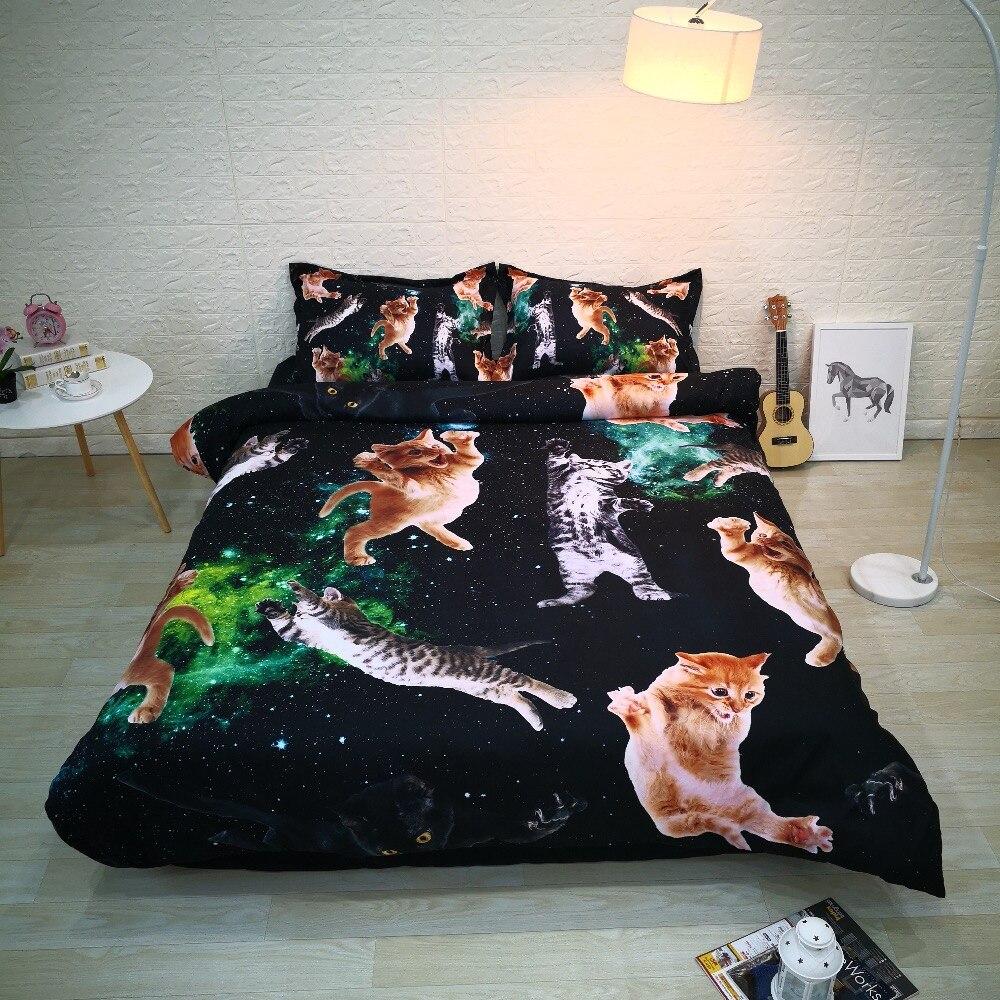 Черный Space Cat 3 предмета постельное белье цифровой 3D постельный комплект