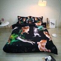 Black Space Cat 3 Piece Duvet Cover Set Digital 3D Bed Set