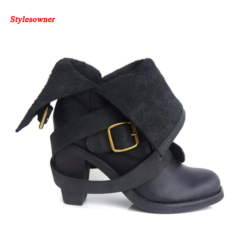Stylesowner Retro Belt Buckle Short Boots Chunky Heel Round Toe Soft Leather Fashion Motorcycle Boots Cowboy New Boots