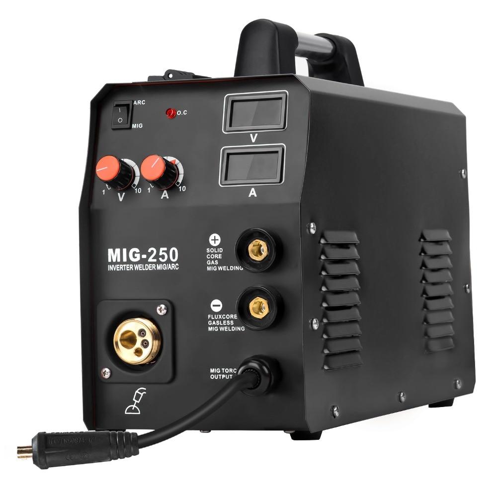 Máquina de soldadura HZXVOGEN, 220V, MIG250 MIG TIG ARC 3 en 1, soldador Mig 10-25mm antorcha WP17V TIG