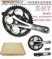 11122TECHKIN bicicleta de montaña de aluminio Placa de velocidad variable agujero lateral plegable coche de carretera 48 T/38 T/28 T engranaje de aleación de aluminio|gear 48t|bike gear|road bike gear -