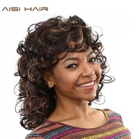 AISI HAIR Afro Kinky Wavy Synthetic Wigs For Black Women Long Hair With Bangs Hairstyle