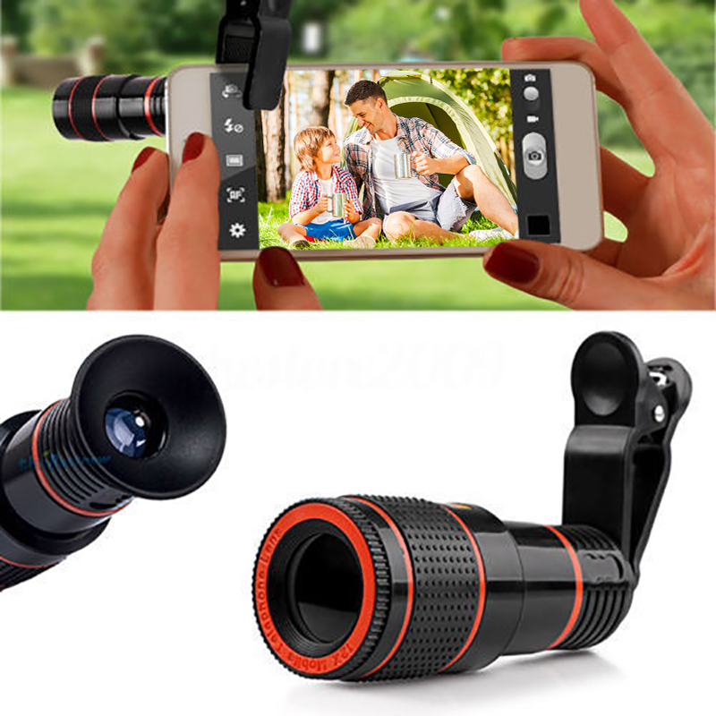HD 12X Magnification Optical Zoomable Camera Telescope Lens with Clip Universal For Smart Phones for iphone Plug and Play 20x magnification telescope lens w tripod back case set for iphone 5 silver red