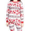 A44New Mujeres Sueltan de gran código nieve ciervos de Navidad traje de casa camisa de manga larga pantalones de pijama Conjunto Ropa de Dormir de las mujeres pijamas