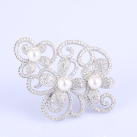 Fashion Jewelry Charm Zircon Pearl Flower Brooch For Women S Scarf Sweater Bijoux Copper Brooches Mujer