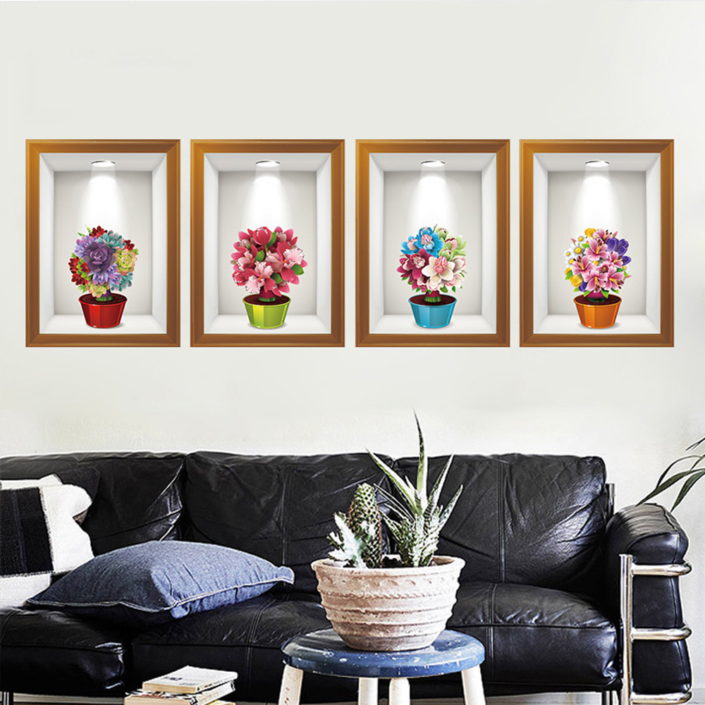 3D Potted Plants Flower Wall Sticker Removable Mural Decals Wallpaper Self Adhesive Living Room Home Decor pegatina de pared