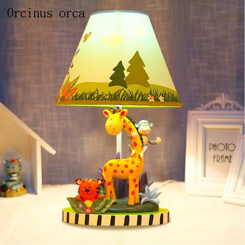 Bande dessinée créative girafe bureau lampe de garçon chambre enfants chambre lampe moderne simple et belle animal lampe de table livraison gratuite