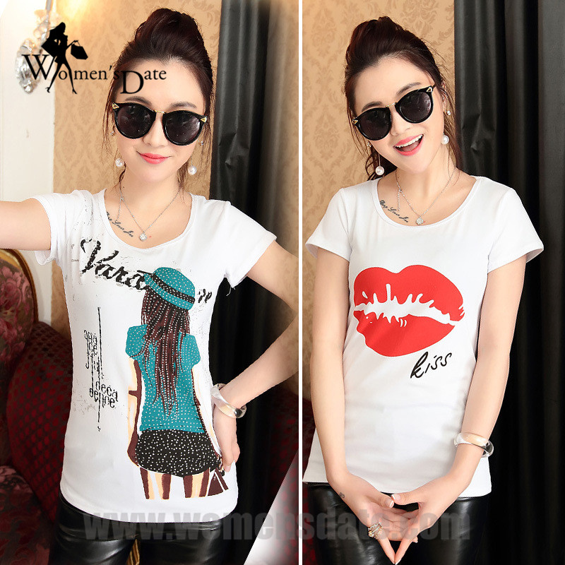 Womensdate Kid and Mother Store 2017 New Arrival Summer T-Shirt Women Tops Short Sleeve O-neck Fashion Plus Size White T-Shirt Female Tees 40 Print Large Size