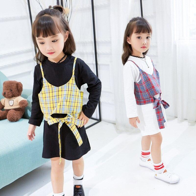 Nieuwe Collectie Herfst Kinderkleding Sets Kid Plaid Jurk Past Katoen Lange Mouwen Jurk + plaid Vest 2 stks pak Outfit 2-7 Y