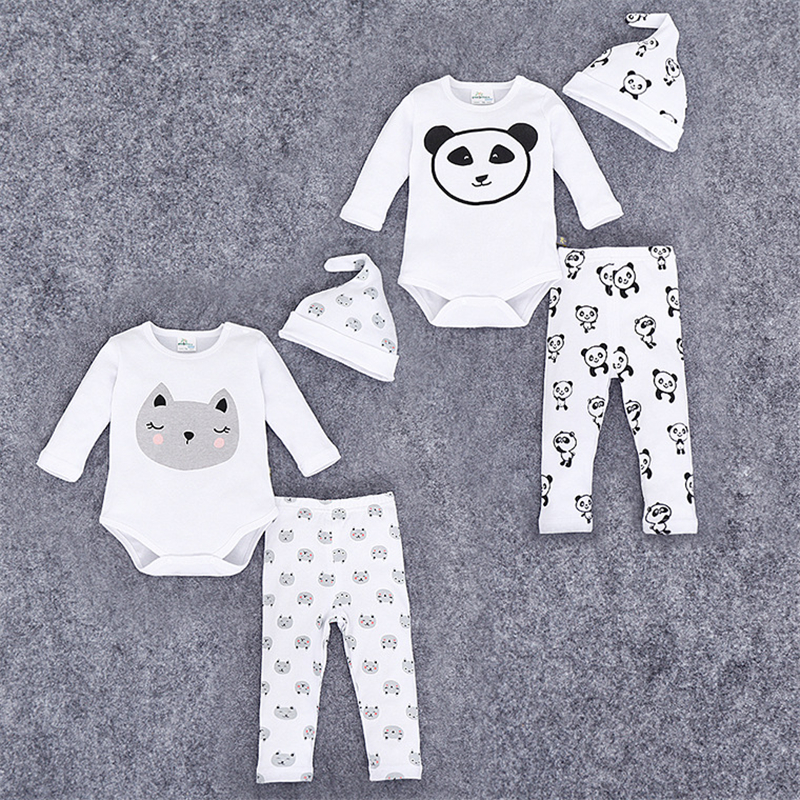 Brand Romper Set Fashion Cartoon Roupas De Bebes Bodysuit + Hat + Pant 3pcs Երեխայի տղաների հագուստի հավաքածու Cute Cute Newborn Baby Clothing