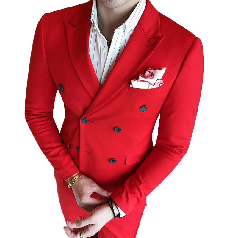 (سترة + سترة + السراويل) جديد أزياء رجالي الصلبة اللون الرسمي الأعمال مزدوجة الصدر دعوى 3 مجموعة/العريس فستان الزفاف الدعاوى-في بدلة من ملابس الرجال على  مجموعة 1