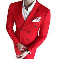 ( Jacket + Vest + Pants ) New Mens Fashion Solid Color Formal Business Double-breasted Suit 3 Set / Groom Wedding Dress Suits