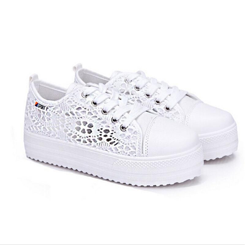 Sexy 2018 Chaussures Respirant D'été forme Femmes Casual Sapato Plate Mode 2 Dentelle 1 Feminino Floral Découpe Toile Plat Creux BYfqZB1w