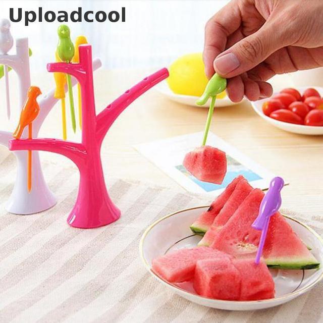 Uploadcool _ A nova ferramenta da cozinha acessórios de cozinha legumes frutas garfo criativo fruto garfo vara eco-chic gadgets