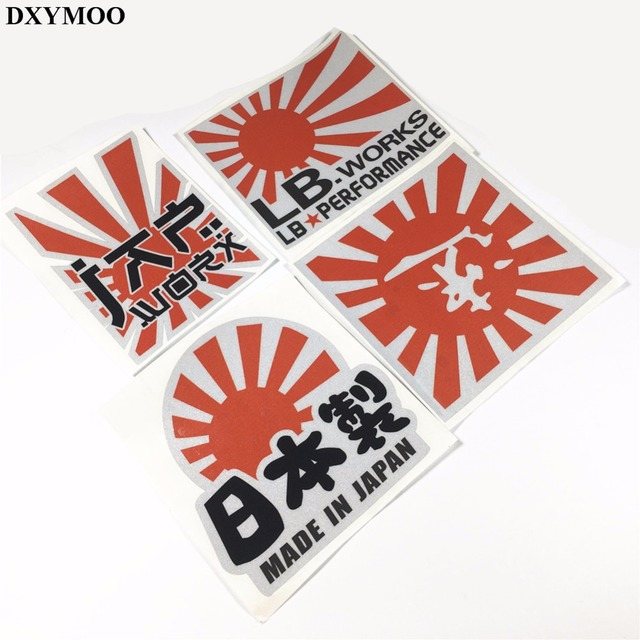 Japanese national flag japan works jdm sticker reflective motorcycle helmet decals car stickers bumpers