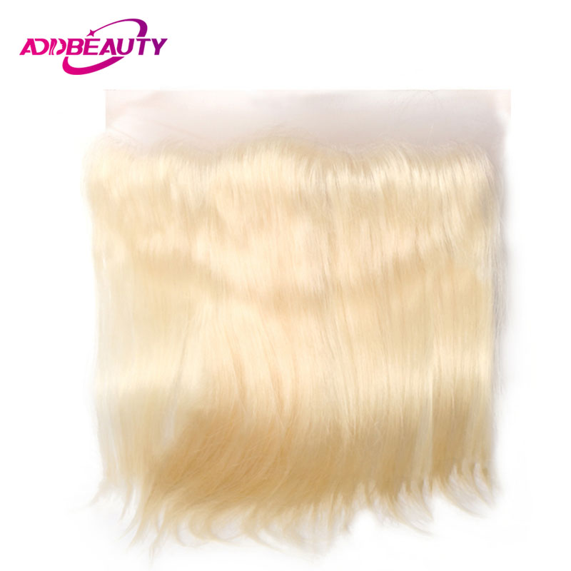 613 Blonde Swiss Lace Frontal Closure Straight Virgin / Remy Brazilian Human Hair Light Brown 13x4 130% Pre Plucked Free Part