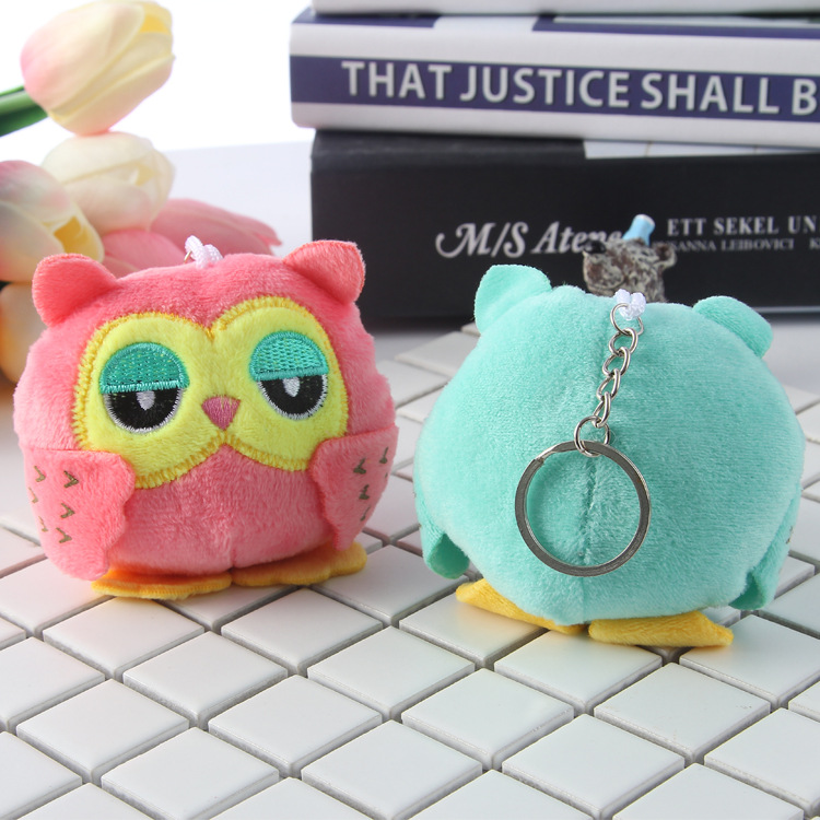 2Colors 9CM Key Chain Toys Sweet OWL Plush Toys Plush Stuffed Animal Owl TOY Keychains Small Pendant Dolls Wedding Party Gift