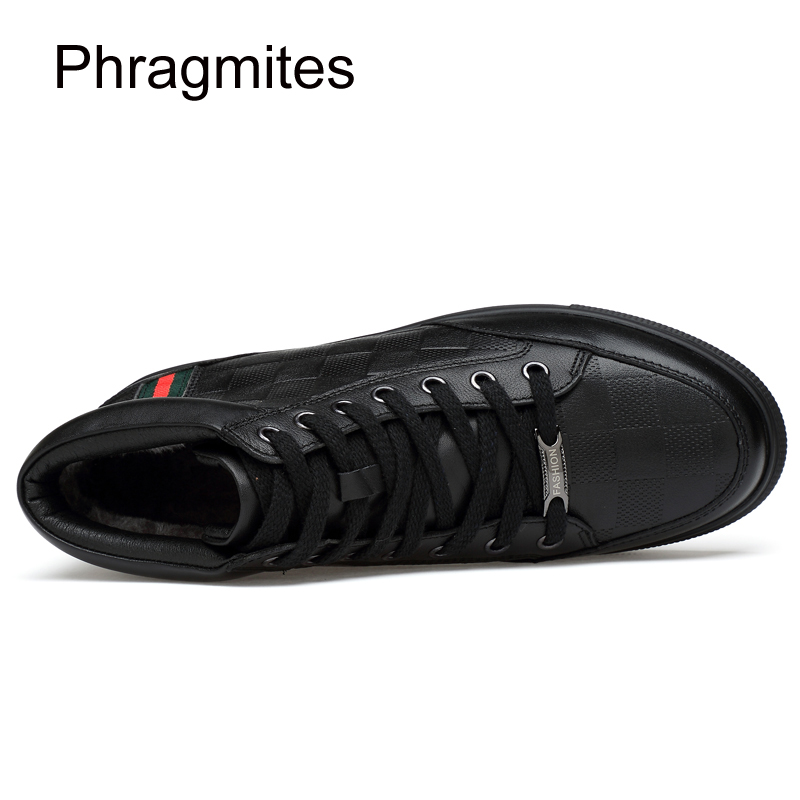 Phragmites Shoes New Men Autumn Winter Boots Men Business Chukka Boots With Fur Fashion Black Plu Size 48 in Oxfords from Shoes