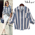 XXXL 4XL 5XL Plus Size Shirts Women 2017 Spring Fashion Big Striped Roll-up Long Sleeve Loose Casual Cotton and Linen Blouses
