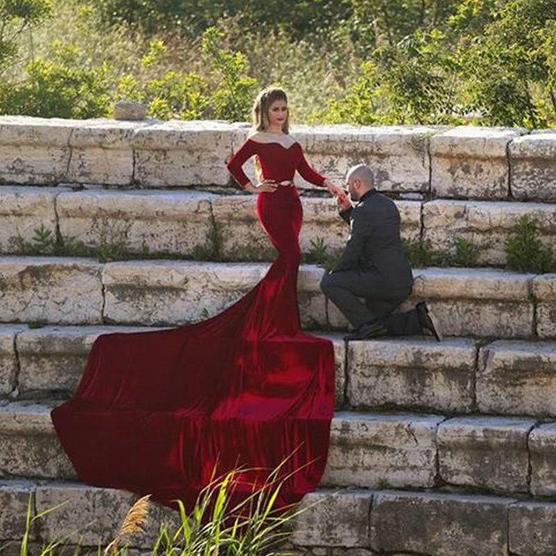 39366251efb Custom Made Cheap Off Shoulder Velvet Long Sleeve Burgundy Mermaid Prom  Dresses Arabic Long Evening Dresses Robe De Soiree