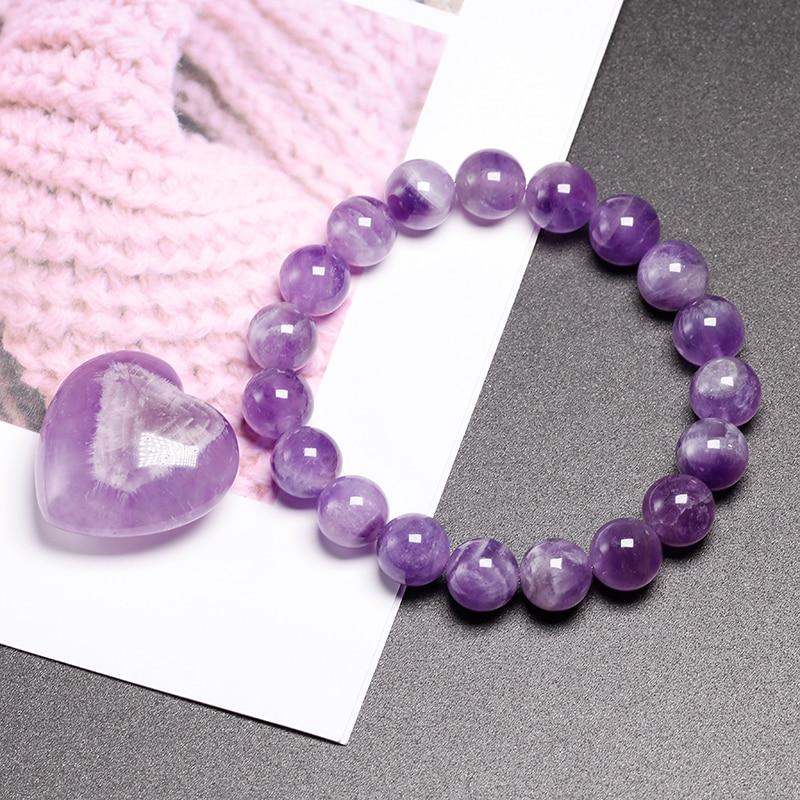 Natural Dream Amethysts Quartz Energy Light Purple GemStone Bracelet Women Beaded Stretch Bracelet Energy Gift Jewelry
