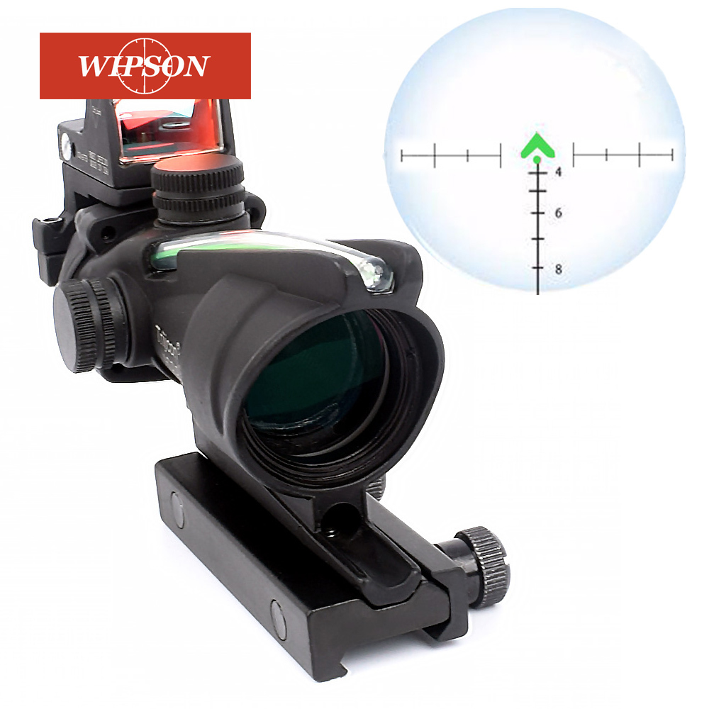 WIPSON ACOG 4X32 Optic Scope Riflescope CAHEVRON Reticle Fiber Red Illuminated Optic Sight With RMR Mini Red Dot Sight 20mm Rail guaranteed 100% 16mm 20 degree angle fixed cctv ir board camera lens for both 1 3 and 1 4 ccd