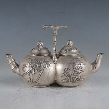 Chinese Rare Silvering Copper Bamboo Double Teapot Made By The Royal DaQing