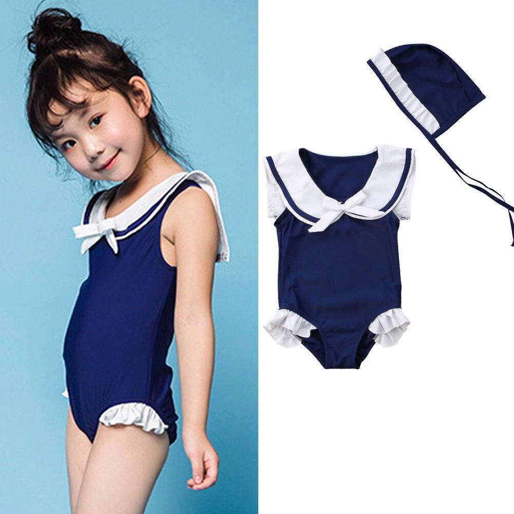 2018 Brand New Toddler Infant Child Kids Baby Girls One Piece Sailor Tankini Bikini Swimsuit Ruffled Bathing Suit +Hat 1-6T