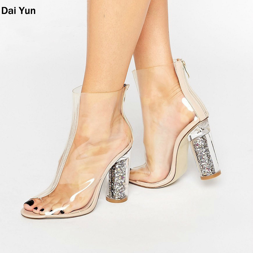 [Dai Yun] 2017 Autumn New Pattern Transparent Twinkle Crystal Thick Heels Sheer Vamp Open Toe Women Fashion Boots Shoes B59800 dai shi han