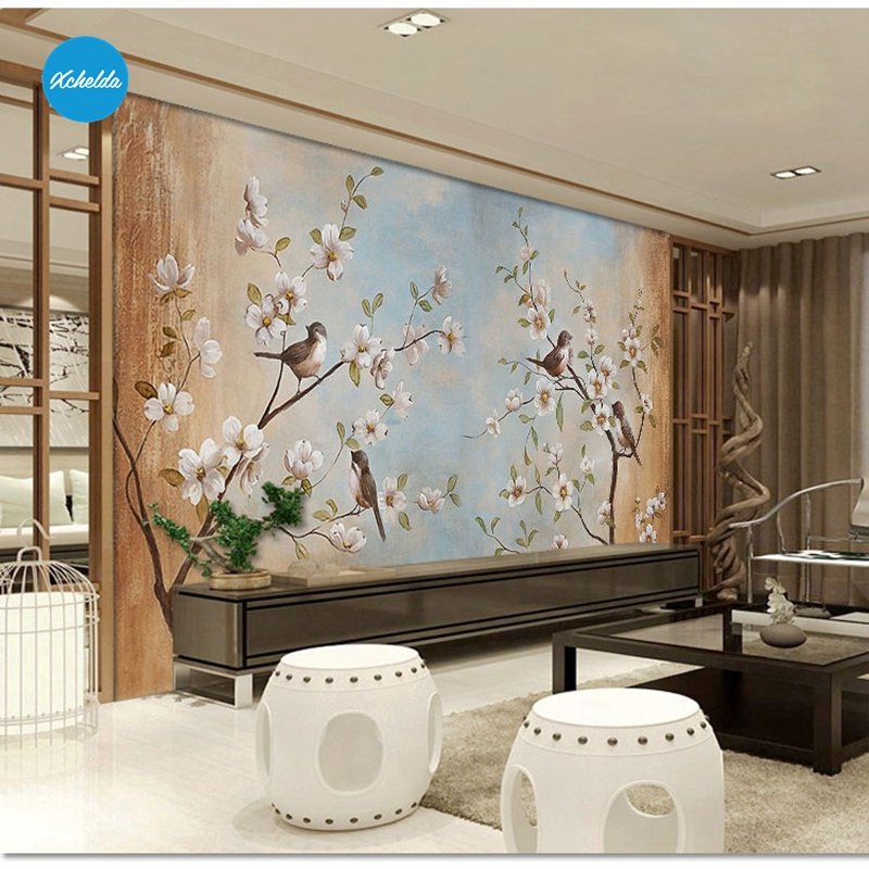 XCHELDA Custom 3D Wallpaper Design Spring Bird Photo Kitchen Bedroom Living Room Wall Murals Papel De Parede Para Quarto kalameng custom 3d wallpaper design street flower photo kitchen bedroom living room wall murals papel de parede para quarto
