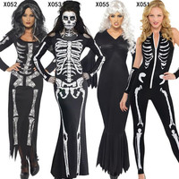 2017 New Skeleton Costume Women Lady Cosplay Skull Jumpsuits Costumes Halloween Carnival Fancy Dress Party Decoration