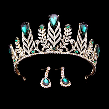 Big Vintage Turquoise Green Rhinestone Feather Crown Wedding Quinceanera Crystal Leaf Prom Tiara Headband Bride Hair Accessories