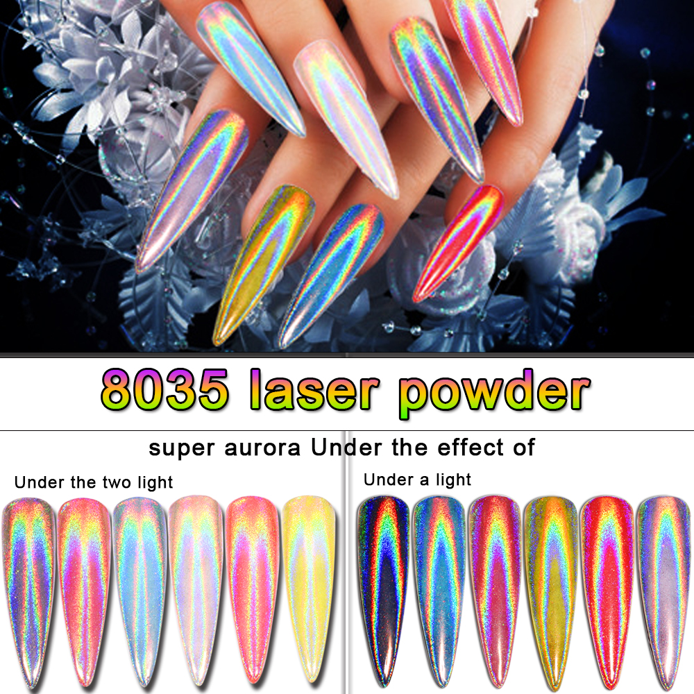 Laser 1g Rainbow Shinning Mirror Nail Glitter Powder Perfect Holographic Nails Dust Holo Pigment Silver Decorati