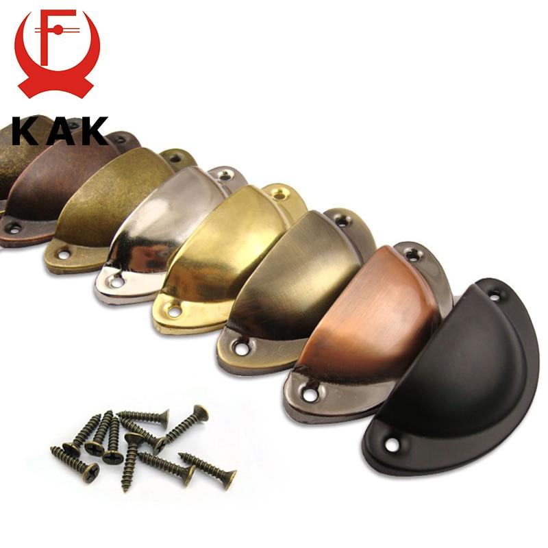 Kak 2 pçs retro metal cozinha gaveta do armário maçaneta da porta e móveis puxadores de mão armário de bronze antigo concha puxadores