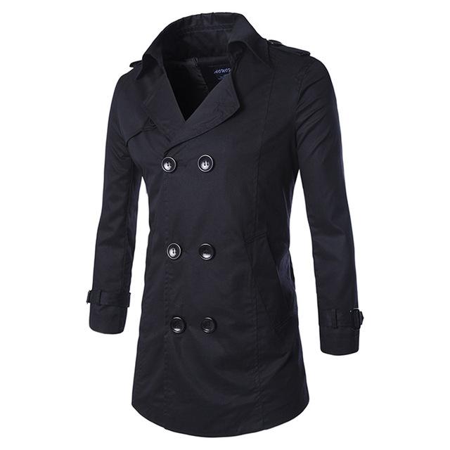 Marca de ropa de los nuevos hombres ocasionales de larga trinchera abrigo de primavera otoño slim fit hombres rompevientos chaqueta de abrigo de lana delgada prendas de vestir exteriores 3XL 91