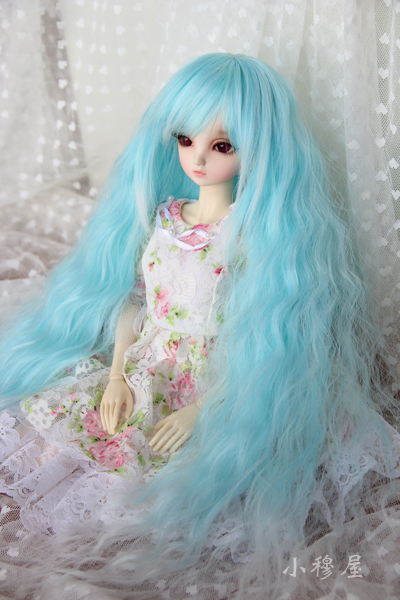 Free Shipping,1/4 BJD wig slightly curled hair wig high temperature blue gradient
