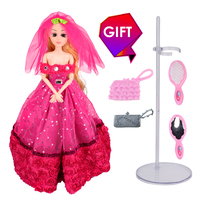 Wedding Princess Doll Luxury Red Fashion Girl Toys Best Friend Play House Sticker Gift For Baby